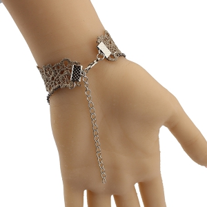 Triangle Floral Hollow Out Bracelet - BROWN