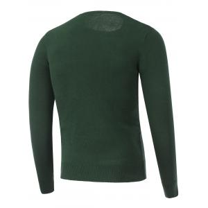 Long Sleeve Crew Neck Printed Sweater - GREEN 2XL