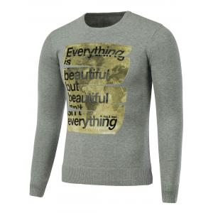 Rib Hem Crew Neck Graphic Sweater