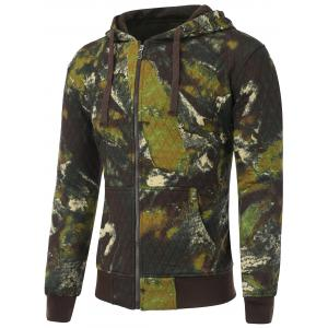 Printed Pocket Zip Up Quilted Patterned Hoodies