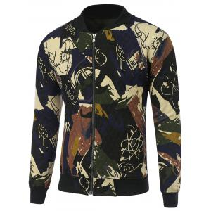 Abstract Print Zip Up Quilted Jacket