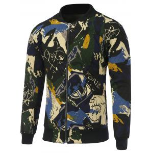 Abstract Print Zip Up Quilted Jacket - Blue - M