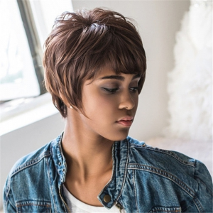 Black Brown Mixed Synthetic Fluffy Straight Short Layered Cut Wig -