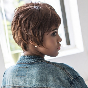 Black Brown Mixed Synthetic Fluffy Straight Short Layered Cut Wig - COLORMIX