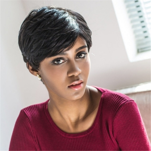 Spiffy Short Pixie Cut Capless Straight Layered Black Synthetic Wig For Women - BLACK