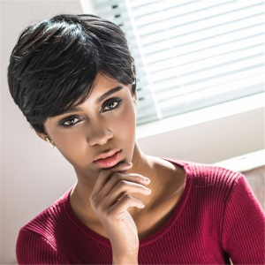 Spiffy Short Pixie Cut Capless Straight Layered Black Synthetic Wig For Women -