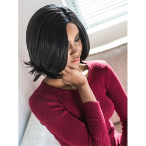 Vogue Medium Side Parting Straight Black Women's Synthetic Hair Wig - BLACK