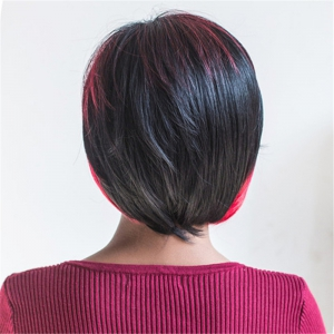 Trendy Side Bang Synthetic Short Fluffy Straight Black Red Mixed Wig For Women -