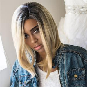 Medium Straight Highlight Shaggy Synthetic Wig