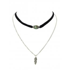 Leaf Layered Oval Fake Gem Necklace - BLACK