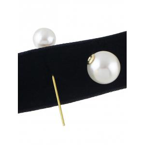 Fake Pearl Leather Wide Choker Necklace - BLACK