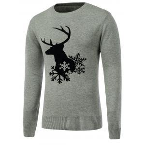 Snowflake Reindeer Crew Neck Christmas Sweater