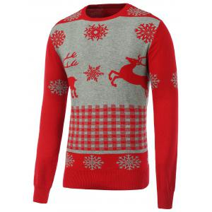 Rib Hem Crew Neck Christmas Sweater