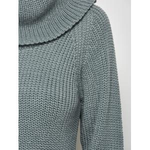 Chunky Turtleneck Sweater - GRAY ONE SIZE