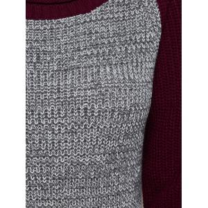 Raglan Sleeve Color Block Longline Sweater - GRAY/RED ONE SIZE