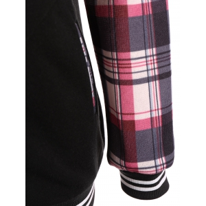 Varsity Striped Plaid Jacket with Hood - LIGHT RED S