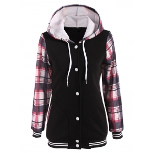 Varsity Striped Plaid Jacket with Hood - Light Red - S