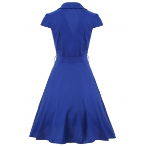 V Neck Tied Belt Surplice Skater Dress - BLUE 2XL