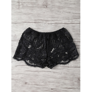 Lace Crochet Openwork Cover Up Shorts - Black - S