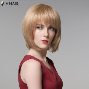 Siv Hair Short Full Bang Straight Bobs Real Natural Hair Wig -
