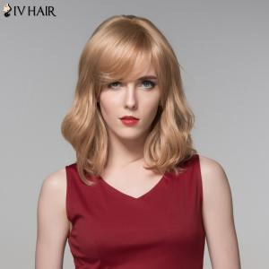 Siv Hair Medium Side Bang Slightly Wavy Real Natural Hair Wig -