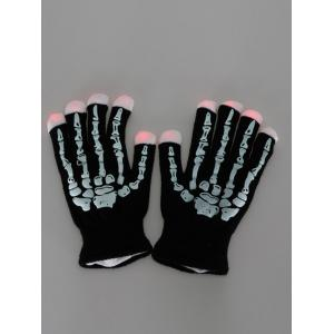 Halloween Party Prop Supplies LED Skull Fingertip Lighting Gloves - BLACK