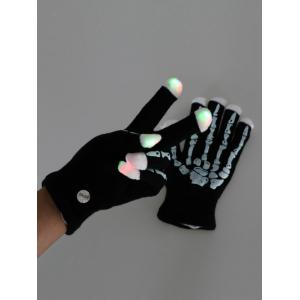 Halloween Party Prop Supplies LED Skull Fingertip Lighting Gloves -