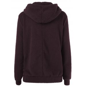 Fuzzy Hoodie With Zipper - BROWN S
