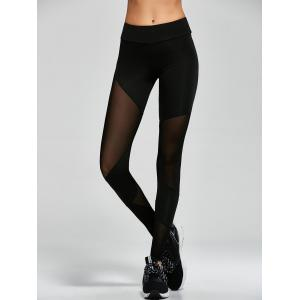Mesh Insert Gym Sports Leggings - Black - S