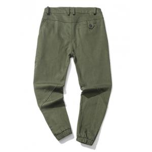 Zipper Fly Low Slung Crotch Design Beam Feet Jogger Pants -
