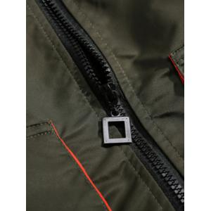 Stand Collar Drop Shoulder Pockets Design Padded Jacket -