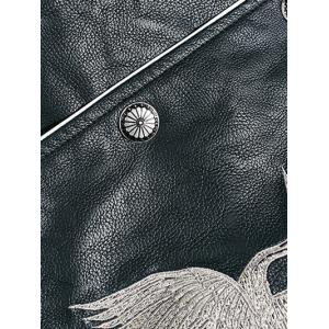 Drop Shoulder Red Crowned Crane Embroidered PU Leather Jacket -