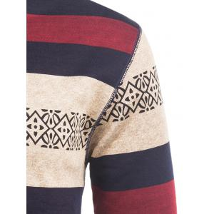 Crew Neck Stripe and Graphic Knitting Sweater - WINE RED 3XL