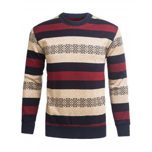 Crew Neck Stripe and Graphic Knitting Sweater - Wine Red - 2xl