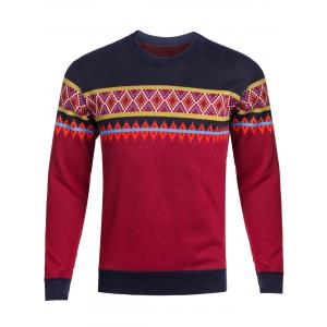 Crew Neck Ethnic Style Graphic Knitting Sweater - Red - L