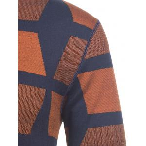 Crew Neck Color Block Geometric Knitting Sweater -