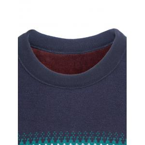 Crew Neck Ethnic Style Graphic Color Block Knitting Sweater -