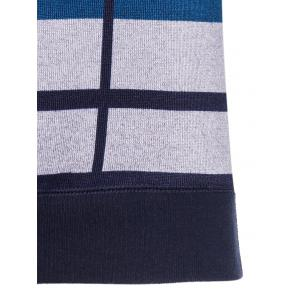 Crew Neck Vertical Striped Color Block Knitting Sweater - BLUE 3XL