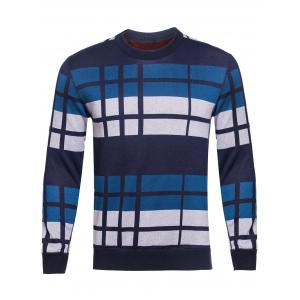 Crew Neck Vertical Striped Color Block Knitting Sweater