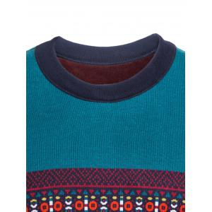 Crew Neck Ethnic Style Graphic Color Block Spliced Knitting Sweater -