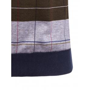 Crew Neck Stripe and Plaid Color Block Knitting Sweater -