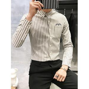 Turndown Collar Vertical Stripe Glasses Embroidered Flocking Shirt