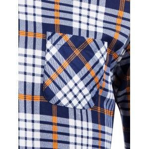 Flocking Turndown Collar Tartan Pocket Shirt -