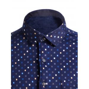Flocking Turndown Collar Colorful Diamonds Pocket Shirt - CADETBLUE 4XL