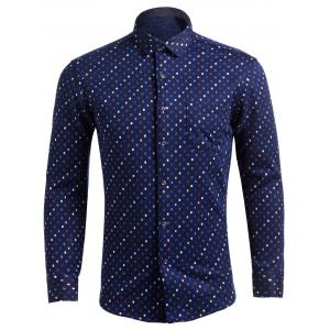 Flocking Turndown Collar Colorful Diamonds Pocket Shirt