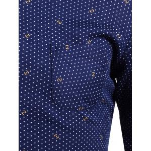 Flocking Turndown Collar Polka Dot Pattern Pocket Shirt -
