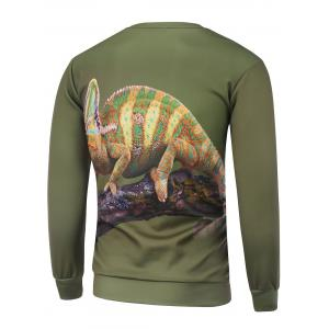 Chameleon Printed Crew Neck Sweatshirt - GREEN 3XL