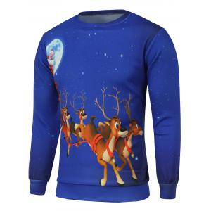 Reindeer Printed Crew Neck Christmas Sweatshirt - Blue - S