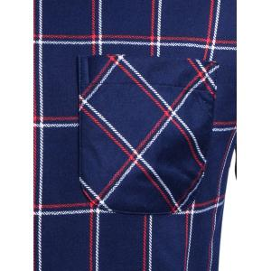 Long Sleeve Turndown Collar Pocket Checked Shirt - DEEP BLUE 4XL
