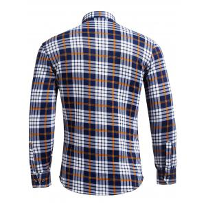 Long Sleeve Flocking Checked Pocket Shirt - CHECKED 4XL